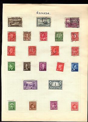 Stamps ~  CANADA CANADIAN ~ On Album Page UNSORTED Unchecked