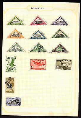 Stamps ~  LIBERIA LIBERIAN Nice AIR MAIL ~ On Album Page UNSORTED/Unchecked