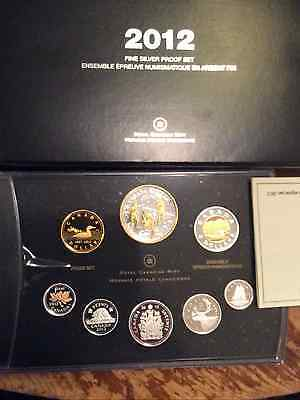 2012 Canadian Fine Silver Proof Set.  Box, coa, and plastic protector on lens