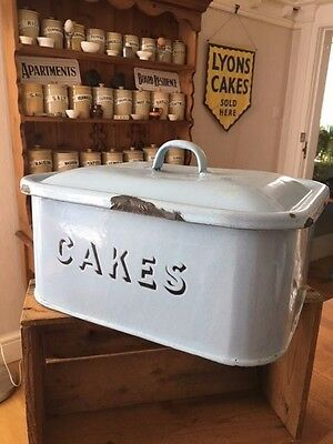 Vintage Pale Blue Rectangular Enamel Cakes Storage Bin – Kitchenalia! –