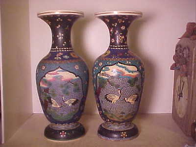 Rare Large Pair Antique Japanese Satsuma And Cloisonne Vases