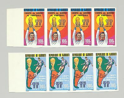 Djibouti #C115-116 World Cup Soccer, Maps 1v Imperf Strip of 4