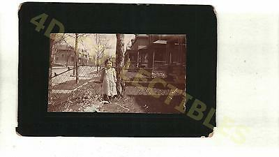 Original photo Cabinet Card Young Child Candid Outside by Houses