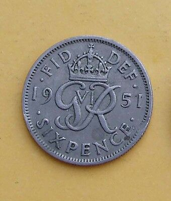 1951 1 x Sixpence 6d  - Tanner - coin. George VI