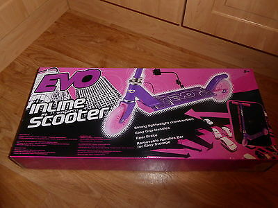 Evo Inline Scooter Pink And Purple  Removable Handlebar For Easy Storage *new*