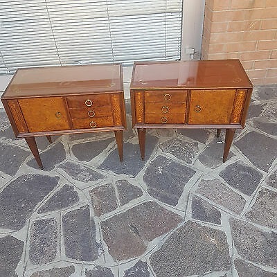 Rare Couple Of Bedside Tables From 1950 Paolo Buffa Style Walnut Venered Italian