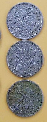 1956 3x Sixpence - 6d  Coins