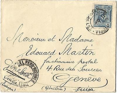 Peru Perou 15C Lettre Cover Pacific Steam 1927 To Suisse