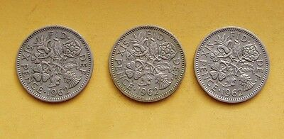 1962 3 x Sixpence - 6d - Tanner - coins. Elizabeth II