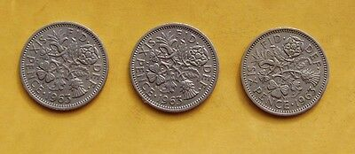 1963 3 x Sixpence - 6d - Tanner coins. Elizabeth II