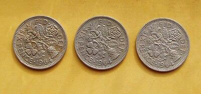 1964 3 x Sixpence - 6d - Tanner coins. Elizabeth II