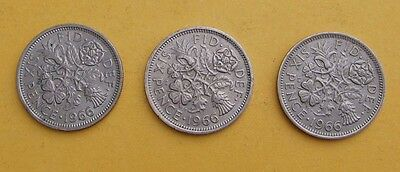 1966 3 x Sixpence - 6d - Tanner coins.  Elizabeth II