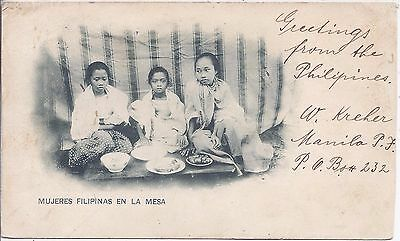Philippines 1901 Filipino Women at Table card registered  to Paris