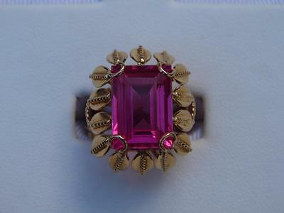 Vintage Retro 14k Solid Yellow Gold Pink Sapphire Ring Emerald Cut SIZE  6