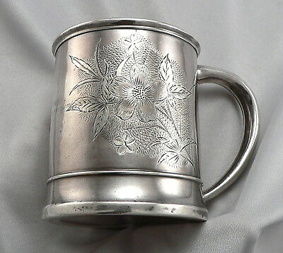 Vintage Antique Frank WHITING STERLING Silver MUG Cup Engraved Floral Aesthetic
