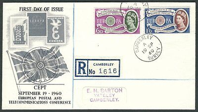 Great Britain, 1960 Europa CEPT Illustrated FDC. Camberley, Surrey CDS Cancel