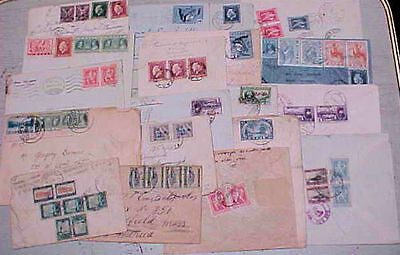 GREECE  18 SMALL COVERS 1930's MANY TO USA   INCLUDES 4 REGISTERED