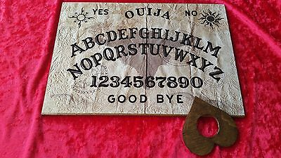 Wooden Ouija Board Symbolic Skull & Planchette Instructions Ghost Game Halloween