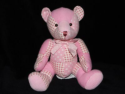 Russ Denimal Teddy Bear Soft Toy Pink And White Check Comforter Doudou