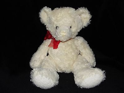 Russ Sherry Teddy Bear Soft Toy Cream White Red Ribboned Comforter Doudou