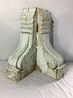 1890's Antique Pair Wood Corbels Brackets Victorian Gingerbread White 390-17