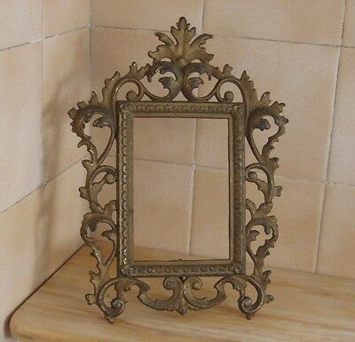 Antique vintage cast iron metal picture frame with swivel stand, marked on back