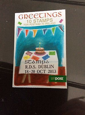 Stamp Ireland booklet greetings with 2013. Stampa overprint