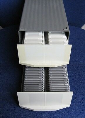 Two GePe 35mm slide storage boxes with 2 trays each to store 200 slides in total