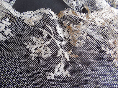 Antique Lace Trim - Handmade Round Piece Flowers On Net - Bridal or Project