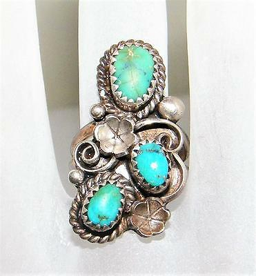 VINTAGE NAVAJO DESIGNER  JIM YAZZIE STERLING and TURQUOISE RING