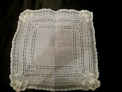 Vintage White/Ivory Wedding lace linen hanky handkerchief fancy Early hanky