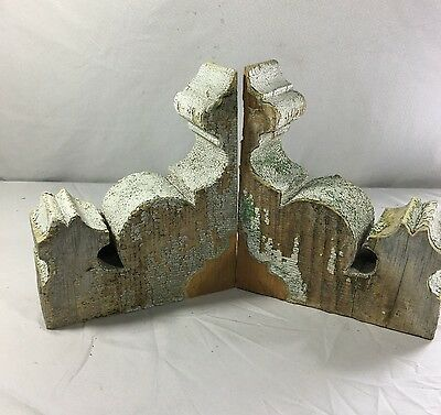1890's Antique Pair(2) Wood Corbels Brackets Victorian Gingerbread White 392-17
