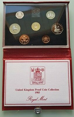1985 Royal Mint UK Deluxe Proof 7-Coin Year Set + COA