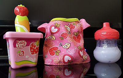 Replacement STRAWBERRY YOGURT w/ SPOON * MILK SIPPY * SHIRT Baby Alive All Gone
