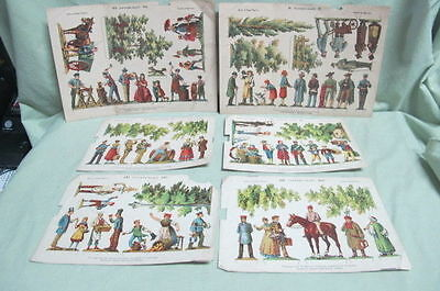 Antique lot of 6 Paper Figures from Leipzig