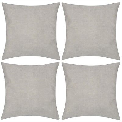 #4 Cushion Cover Pillow Case Linen-look Fabric Beige Square Home Sofa Bed Decor