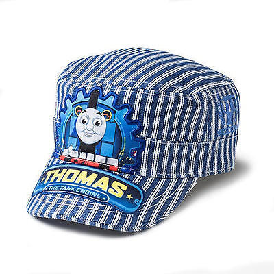 NEW Thomas the Train Baseball Conductor Hat Cap Blue white striped Kids Toddler