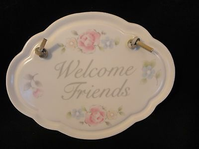 Pfaltzgraff TEA ROSE Welcome Friends Sign Oval Plaque sk