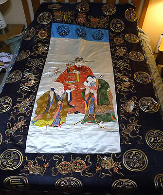 """Huge 1870s Qing Empress Cixi Embroidery on Silk Tapestry 92"""" x 57"""""""