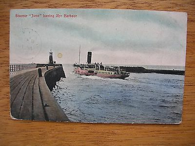 Ayr Harbour With P.s. Juno Leaving P/m 1905