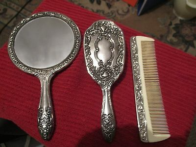 Vintage Silver Plated Hand Mirror & Brush & Combe Beautiful Condition