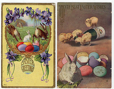ca1910 TWO EASTER POSTCARDS BUNNY RABBITS, CHICKS & COLORED EASTER EGGS (ref 02)