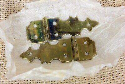 """2 jewelry box Hinges vintage Brainerd BRASS NOS 1 7/8 x 5/8"""" USA Made with pins"""