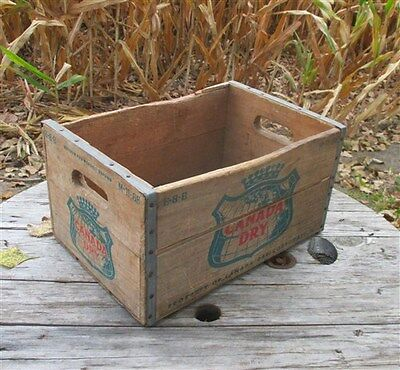 Canada Dry Wooden Metal Crate Vintage Advertising Ginger Ale Soda Pop Beverage