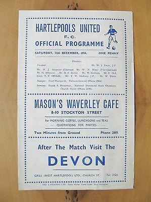HARTLEPOOL UNITED v ALDERSHOT FA Cup 1954/1955 Exc Condition Football Programme