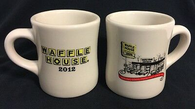 Set of Two Waffle House 2012 Diner Style Heavy Tuxton Coffee Mugs