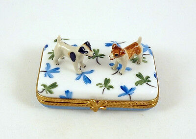 New French Limoges Trinket Box Cute Jack Russell Terrier Dog Puppies On Clovers