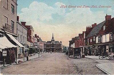 Northamptonshire postcard HIGH STREET & TOWN HALL, TOWCESTER 1908 by Valentines