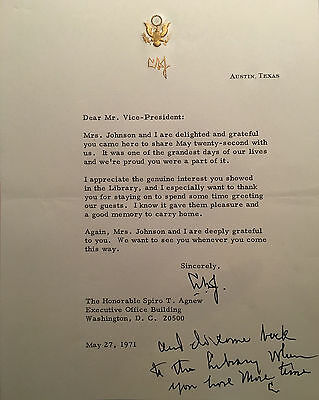 Lyndon B. Johnson 1971 Typed Letter Signed To Vice President Spiro T. Agnew