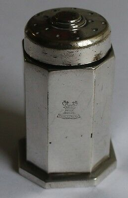 Silver Plate EPNS Ollivant and Botsford Pepper Pot with Crest Octagonal design